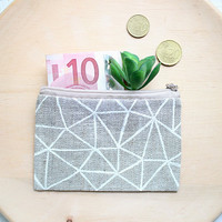 Linen coin purse Zipper pouch Coin pouch Credit cards case Makeup bag Linen makeup bag Linen cosmetic bag Girlfriend Gift for girl