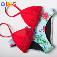 QINS 2017 Swimwear Woman Bikinis Summer Sexy Swimsuit Bath Suit Push Up Bikini set Bathsuit Biquini Neoprene Material Bikinis