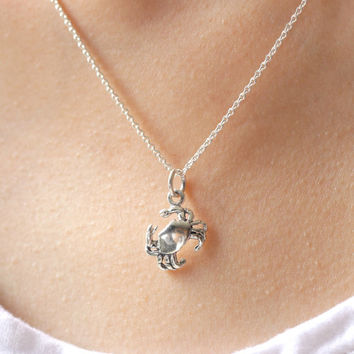Crab Necklace, Sterling Silver Crab Necklace, Silver Crab necklace, Cancer Horoscope Necklace, Beach Wedding, Sea Jewelry