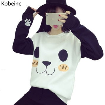 New College Wind Women Hoodies Fashion Cartoon Panda Sweatshirts Casual Printed Mixed Color Harajuku Tracksuits Female Sudaderas