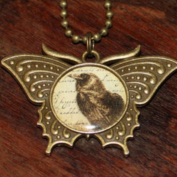 Crow Necklace, Bird Jewelry, Raven, Victorian Goth, Gothic, Bronze Butterfly Pendant