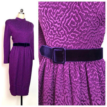 Vintage 1980s Dress Oscar De La Renta - Rare Exquisite 80s Purple Belted Wiggle Dress