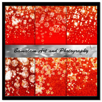 Red and Gold Glitter Backgrounds, Stars, Snowflakes, Bokeh Christmas Digital Backgrounds, Xmas Scrapbook