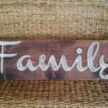 Large FAMILY Nail and String Art Sign, Rustic Home Decor, Housewarming Gift, Made to Order