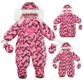 RUSSIA baby winter warm white duck down jumpsuits baby clothes sleeping bag 1 to 2 years old Striped flower