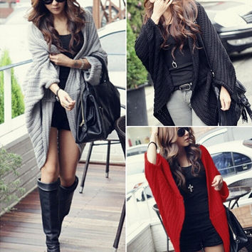 Korean Womens Bat Sleeve Knit Cardigan Sweater Knitwear Coat Tops Outwear KPOP New = 1946326852