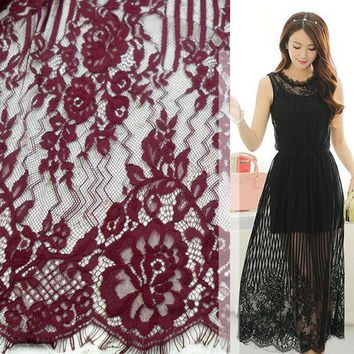 VONE2B5 Dyeable lace fabric Wine red Green Khaki Navy blue Beige dyed eyelash french lace High quality women long dress lace 150*150CM