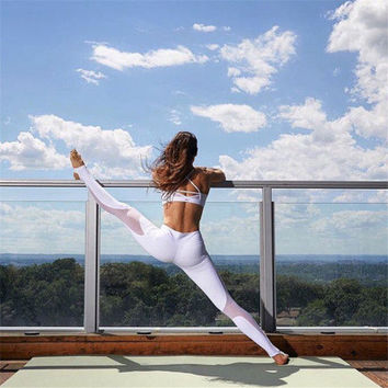 Sexy Slim fit Meshed see-through Sport Yoga Exercise Leggings d070