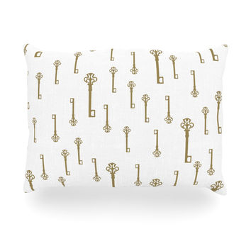 """Suzanne Carter """"Vintage Gold Keys II"""" White Yellow Oblong Pillow"""
