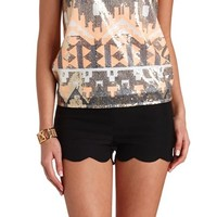 Stretchy Scalloped High-Waisted Shorts
