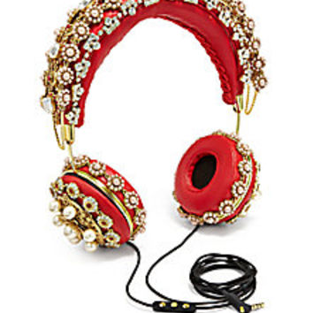 Dolce & Gabbana - Embellished Leather Headphones - Saks Fifth Avenue Mobile