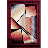 5214 Burgundy Abstract Contemporary Area Rugs