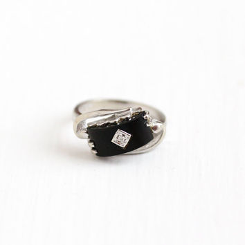 Vintage 10k White Gold Black Onyx and Diamond Ring - Retro 1960s Modernist Size 6 1/4 Black Gemstone Fine Jewelry B&F Baden and Foss