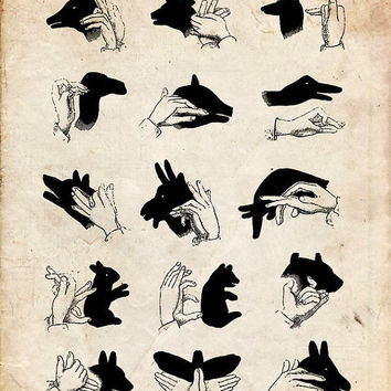 "Vintage Illustration ""Shadow Puppets"" Antique Silhouette Print - Children's Print - Hands Animals Whimsical Nursery Art"