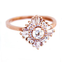 """Art Deco White Sapphire and Diamond Ring """"Gatsby Petite"""" - Great Gatsby, custom made, engagement/special occasion, cocktail"""