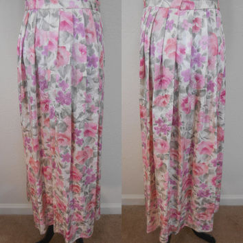 80s, 100% Silk, Ankle Length, Skirt - White, Pink, Peach, Lavender, & Green Flower Print, Partly Elasticized Waist Band, Size 6