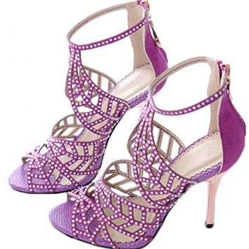 Littleboutique Crystal Studs High Heel Sandals Peep Toe Strappy Sandals Party Pumps Evening Dress Shoe