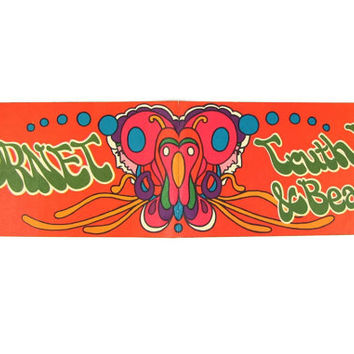 Truth Love & Beauty - Vintage 1960s Peter Max AMC Hornet Bumper Sticker, Super Rare Car Dealership Giveaway, Psychedelic Art