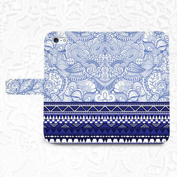 Tribal Blue iPhone/smartphone flip PU leather Wallet case for iPhone 6, 6 plus, 5, 5s, 5c, iPhone 4, 4s- Samsung, Nexus 6, HTC M9
