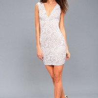 Buona Sera White Lace Sleeveless Bodycon Dress