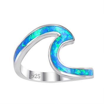 AUGUAU Chic 925 sterling Silver Wave Cut Girl Ring,Designed For Women To Design Home Casual Wear