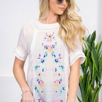 Yaretzi Floral Embroidered Top   White