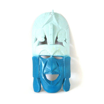 ombre, tribal mask, wall decor, hanging masks, wall art, african, upcycled art, turquoise