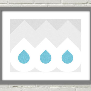 Digital Art Print INSTANT DOWNLOAD Bathroom horizontal wall decor printable Drops blue