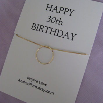 30th birthday gift for Daughter, GOLD Eternity Circle Birthday gift for Her, Sister jewelry. 30th Birthday Gift for Her. 3 Sisters Gift