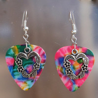 Heart with Flowers Guitar Pick Earrings - Your Choice of Color