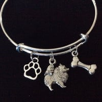 Pomeranian Dog Charm on a Silver Expandable Adjustable Bangle Bracelet Double Sided Charms Meaningful Dog Lover Gift
