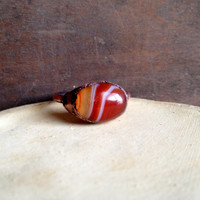 Red Banded Agate Ring - Statement Ring - Banded Agate - Raw Stone Ring - Copper Ring - Semiprecious Stone Ring - SIZE 7.5