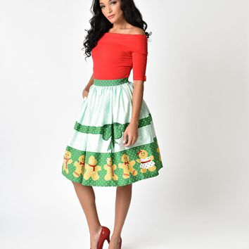 Unique Vintage 1950s Style Gingerbread Darlings High Waist Cotton Swing Skirt