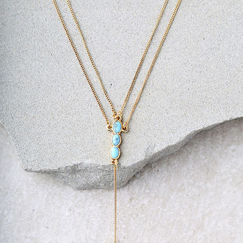 Moonstruck Gold and Turquoise Layered Necklace