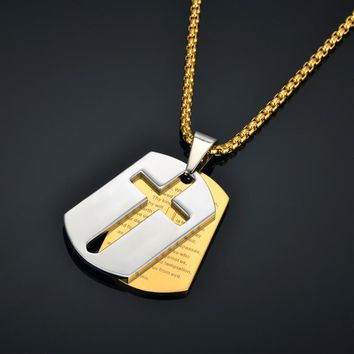 Mens Cross Pendant Necklaces 4 Size Stainless Steel Gold Color Hip Hop Chain Crucifix Bible Necklace For Women/Men Jewelry XL844