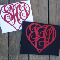 Valentine's Day Heart Monogramed T-Shirt