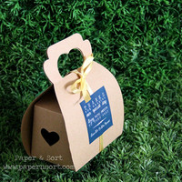 Personalized Mini Gable Boxes - Kraft Brown Paper Box/ Bag with Handles - Party/ Wedding Favor Box/ Bag with Hollow Heart