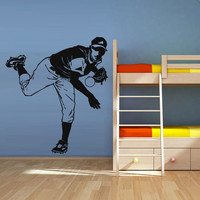 Wall Vinyl Sticker Decals Decor Baseball Kids Bedroom Pitcher Sport Ball (z1269)