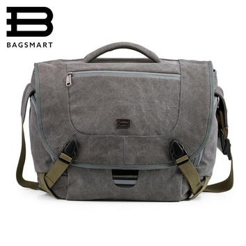 BAGSMART Water Resistant Vintage Camera Shoulder Bag Canvas Messenger Bag Canon Nikon DSLR Camera Bags To Travel Casual Satchel