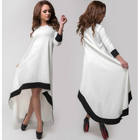 White Contrast Asymmetric Dress