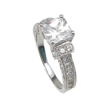 Plutus Brands 925 Sterling Silver Rhodium Finish CZ Princess Channel Engagement Ring 1.5 Carat Weight -Size 9
