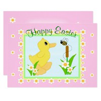 Happy Easter Spring Greetings Duckling Floral Bee Card