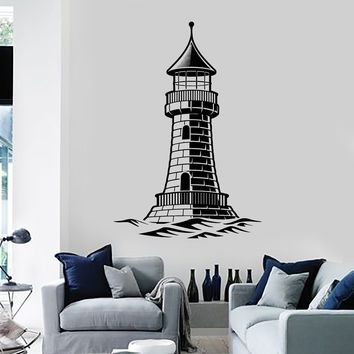 Vinyl Wall Decal Lighthouse Nautical Art Wave Marine Style Stickers Mural Unique Gift (ig5166)