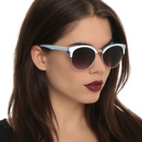 Blue & White Wire Rim Sunglasses