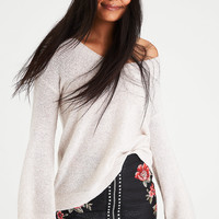 AE Zip-Back Bell Sleeve Sweater, Cream