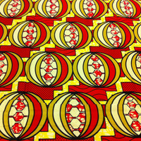 Dutch African Super Wax Print Fabric by the HALF YARD. Red, Pink, Yellow, Gold Orbs