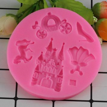 Mujiang Castle Dress High Heels Pumpkin Car Horse Silicone Fondant Molds Cake Decorating Tools Candy Chocolate Gumpaste Moulds