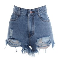High Waist Destroy Effect Shorts - OASAP.com