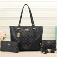 COACH new lady bag three-piece hit color stitching simple portable shoulder bag