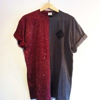 CUT AND SEW SPRAY ON TEE / BURGUNDY & ASPHALT